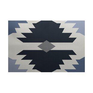 Foley Geometric Print Navy Blue Indoor/Outdoor Area Rug