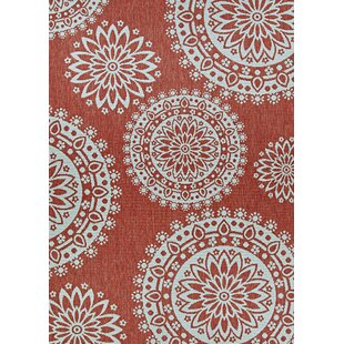 Ekaterina Flower Coral and Dune Orange/Brown Indoor/Outdoor Area Rug
