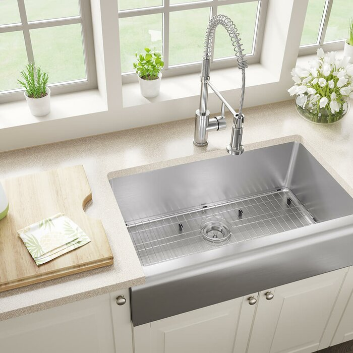 Stainless Steel 33 X 20 Farmhouse A Kitchen Sink With Additional Accessories