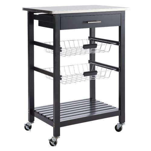 Küchenwagen mit Edelstahlplatte | Küche und Esszimmer > Servierwagen | Schwarz lackiert | Holz - Teilmassiv - Metall | Home Etc