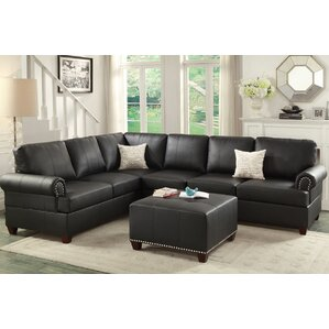 Bobkona Cady Reversible Sectional. Black Bobkona Cady Reversible Sectional  sc 1 st  Wayfair : black leather sectional sofa - Sectionals, Sofas & Couches