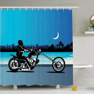 Chopper Motorcycle Shower Curtain Set