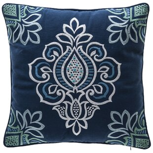 Indigo Bloom Outdoor Throw Pillow with Welt