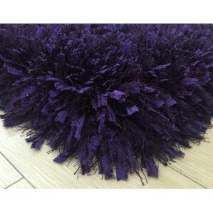 heineman solid shag handtufted purple area rug