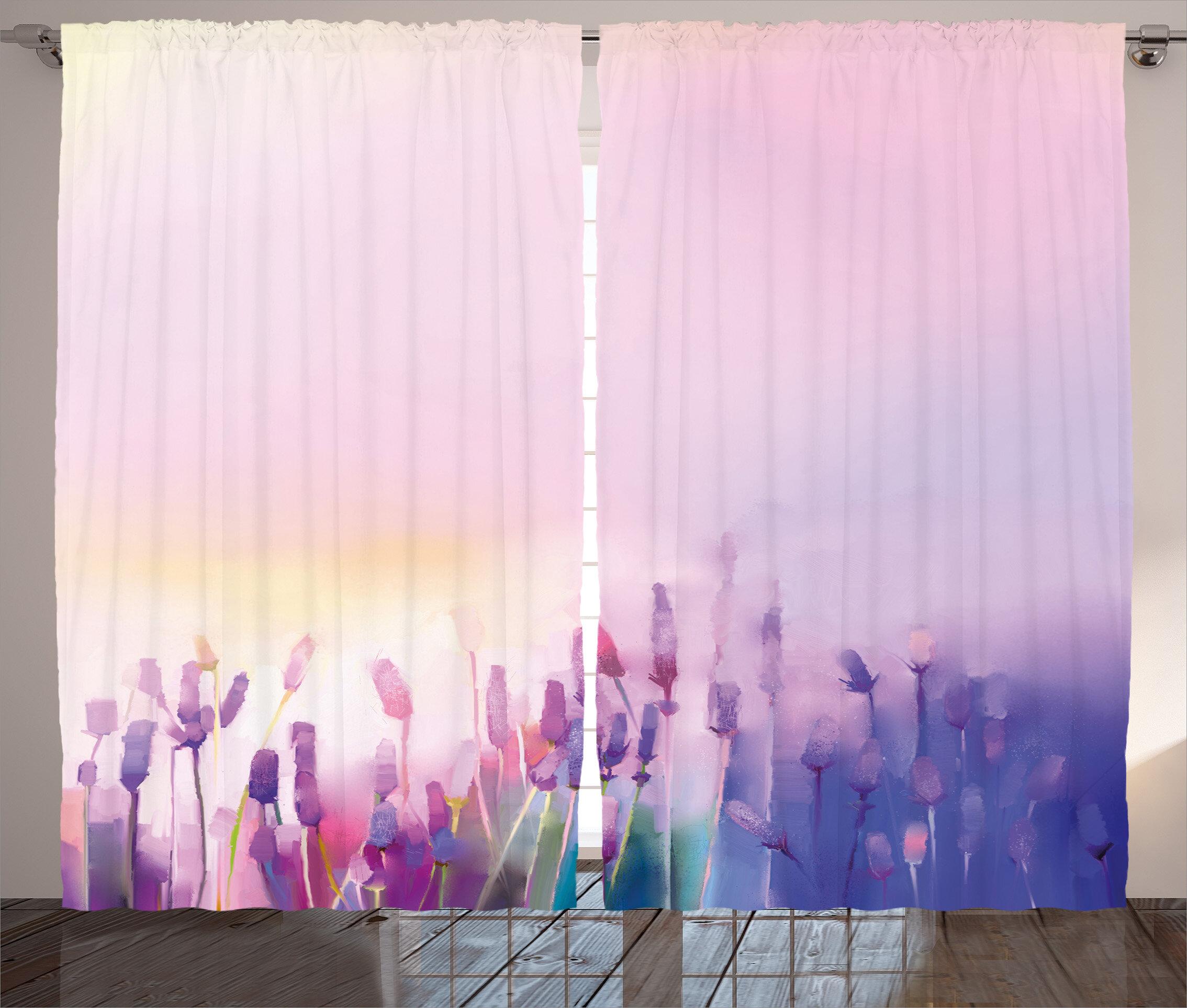 Red Barrel Studio Catskill Watercolor Flower Graphic Print And Text Semi Sheer Rod Pocket Curtain Panels Wayfair