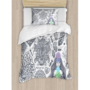 East Urban Home Yoga Indian Elements Bohemian Style Spiritual Symbols and Words Awakening Peace Inspiration Duvet Set