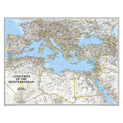 Countries of the Mediterranean Classic Map National Geographic Maps