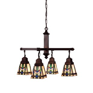 Wyant Tiffany 4-Light Shaded Chandelier by Loon Peak