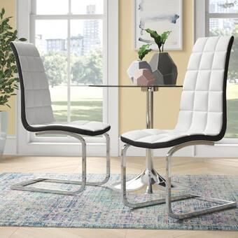 Brayden Studio Braatz Leather Upholstered Side Dining Chair In Brushed Chrome Wayfair