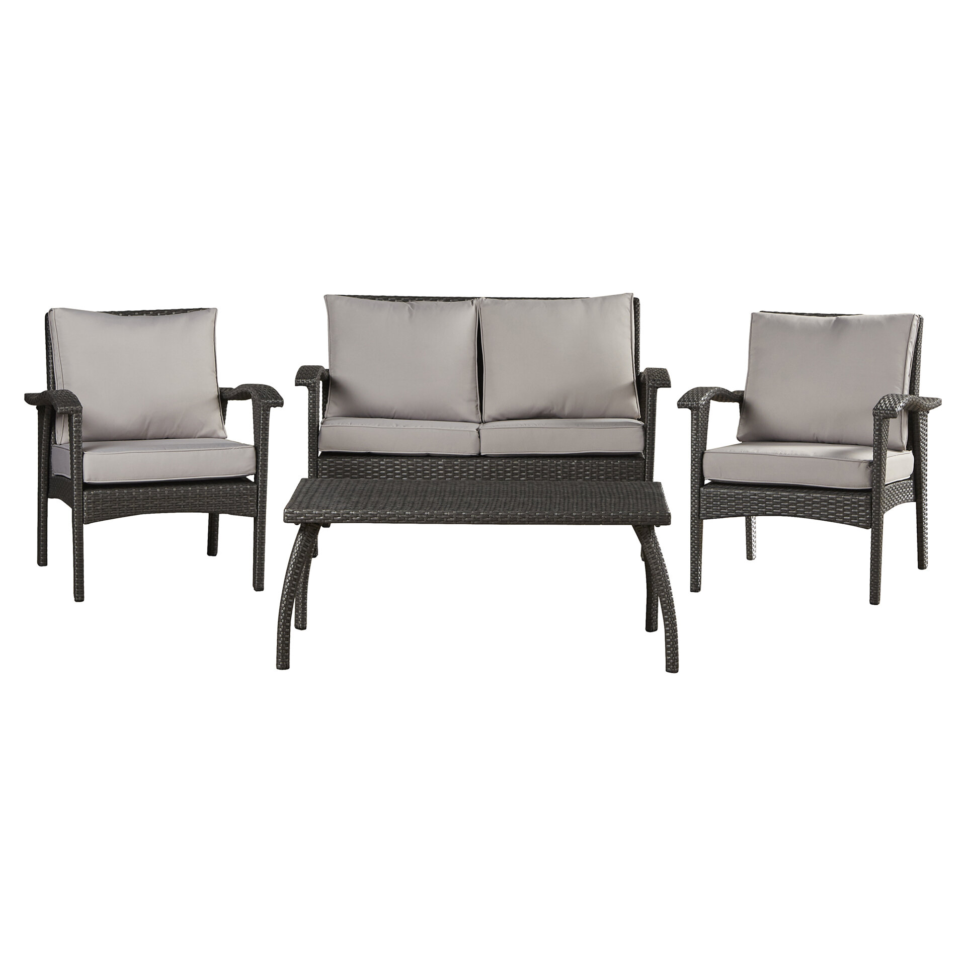 Three Posts Guilford 4 Piece Rattan Sofa Seating Group With Cushions Reviews Wayfair
