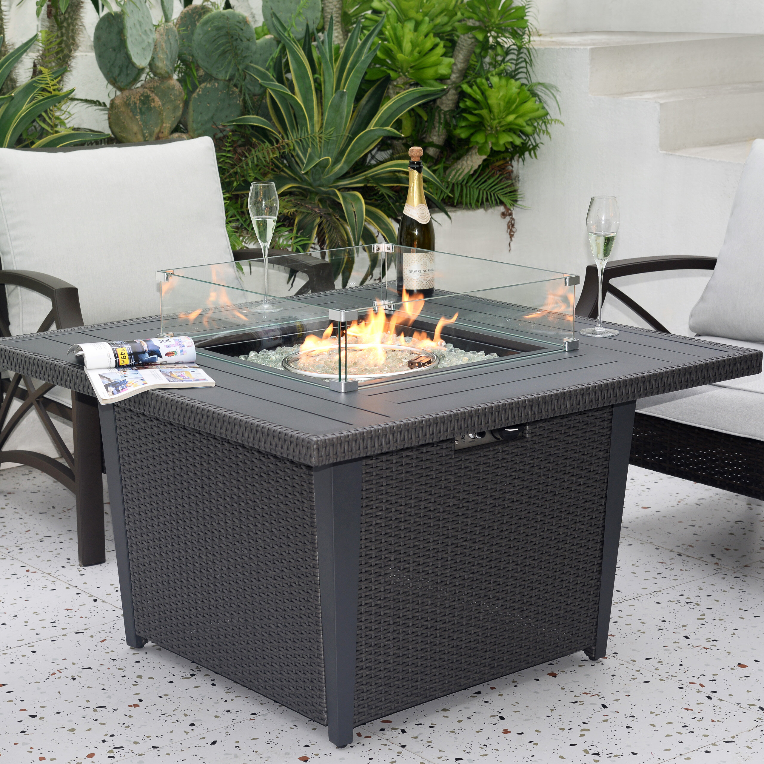 Latitude Run Dellana Aluminum Propane Fire Pit Table Reviews Wayfair