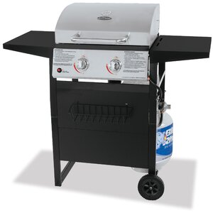 Barbecue 2-Burner Propane Gas Grill with Side Shelves
