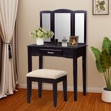 Fiddlewood Solid Wood Vanity Set with Stool and Mirror by Ebern Designs