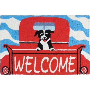 Ortonville Welcome Pup Scatter Hand-Tufted Red Indoor/Outdoor Area Rug