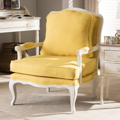 Aadi Armchair Upholstery Color: Yellow, Leg Color: White by One Allium Way