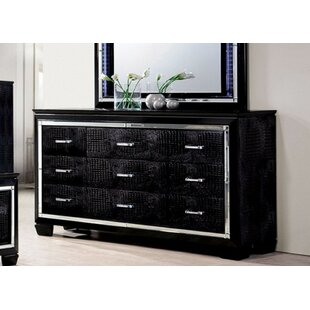 Gallegos Crocodile Textured 9 Drawer Standard Dresser