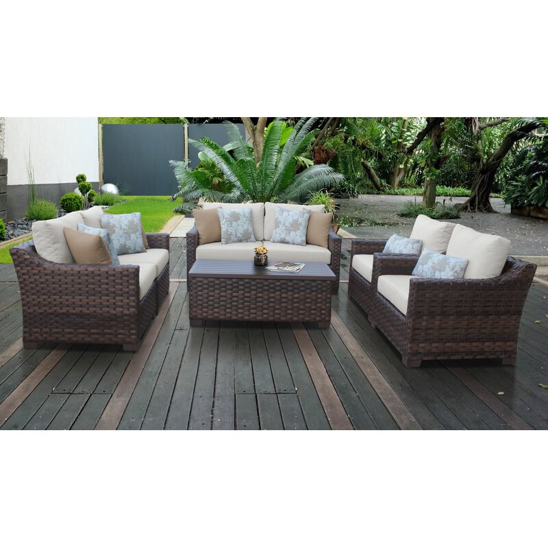 Kathy Ireland Homes Gardens By Tk Classics River Brook 7 Piece Rattan Sofa Seating Group With Cushions Wayfair