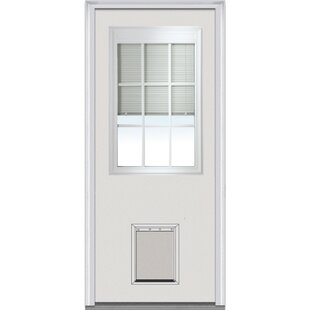 Pet Door Primed Steel Prehung Front Entry Doors