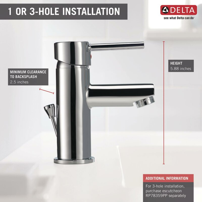 Delta Trinsic® Bathroom Single Handle Single Hole Bathroom Faucet ...