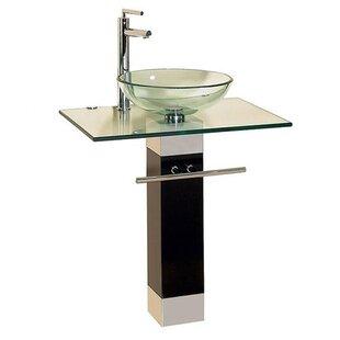 Kokols Glass Circular Vessel Bathroom Sink with Faucet and Pedestal