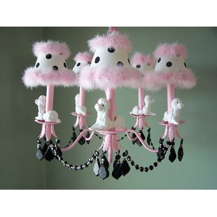 Silly Bear Lighting Fefe French Poodle 5-Light Shaded Chandelier