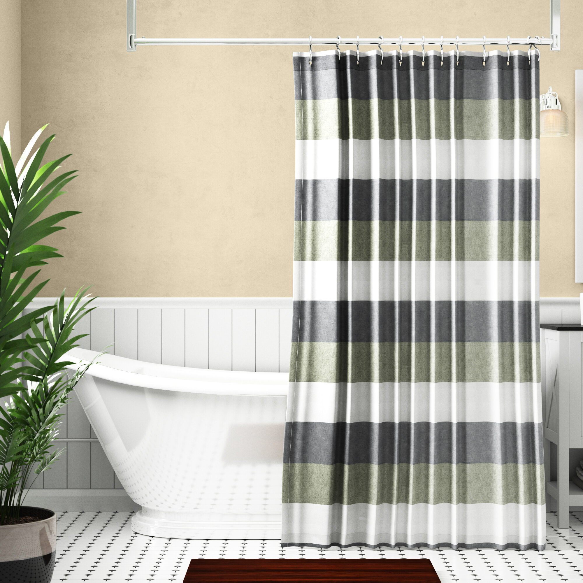 Ridgway Wide Multi Stripe Single Shower Curtain