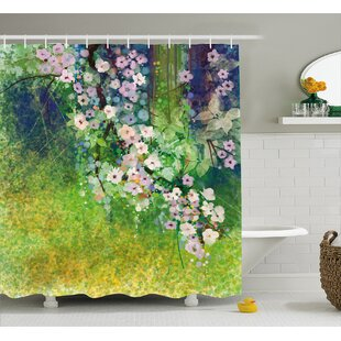 Oram Traditional Japanese Cherry Blossom Sakura Tree Petals Grass Land Paint Single Shower Curtain