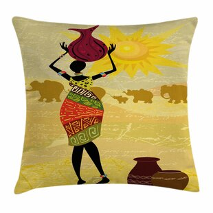 African Woman Elephants Sun Art Square Pillow Cover