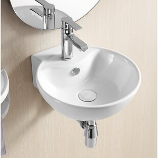 Big Save Ceramic 16 Wall Mount Bathroom Sink with Overflow By Caracalla