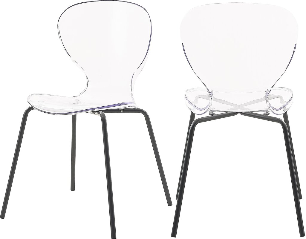 Mercer41 Eudora Stacking Side Chair in Clear (Set of 2)