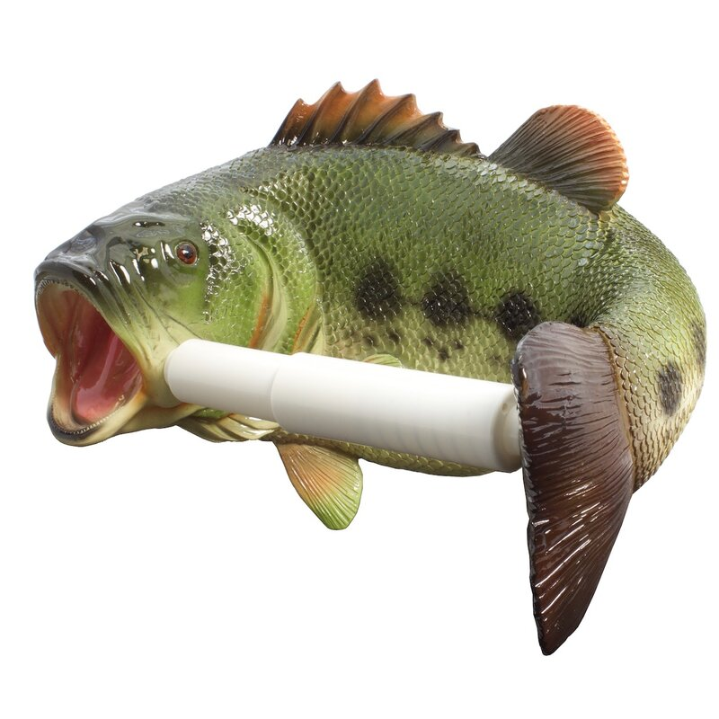 NEW Largemouth Bass Toilet Paper Holder Scuplted Stone Resin For Rustic Décor