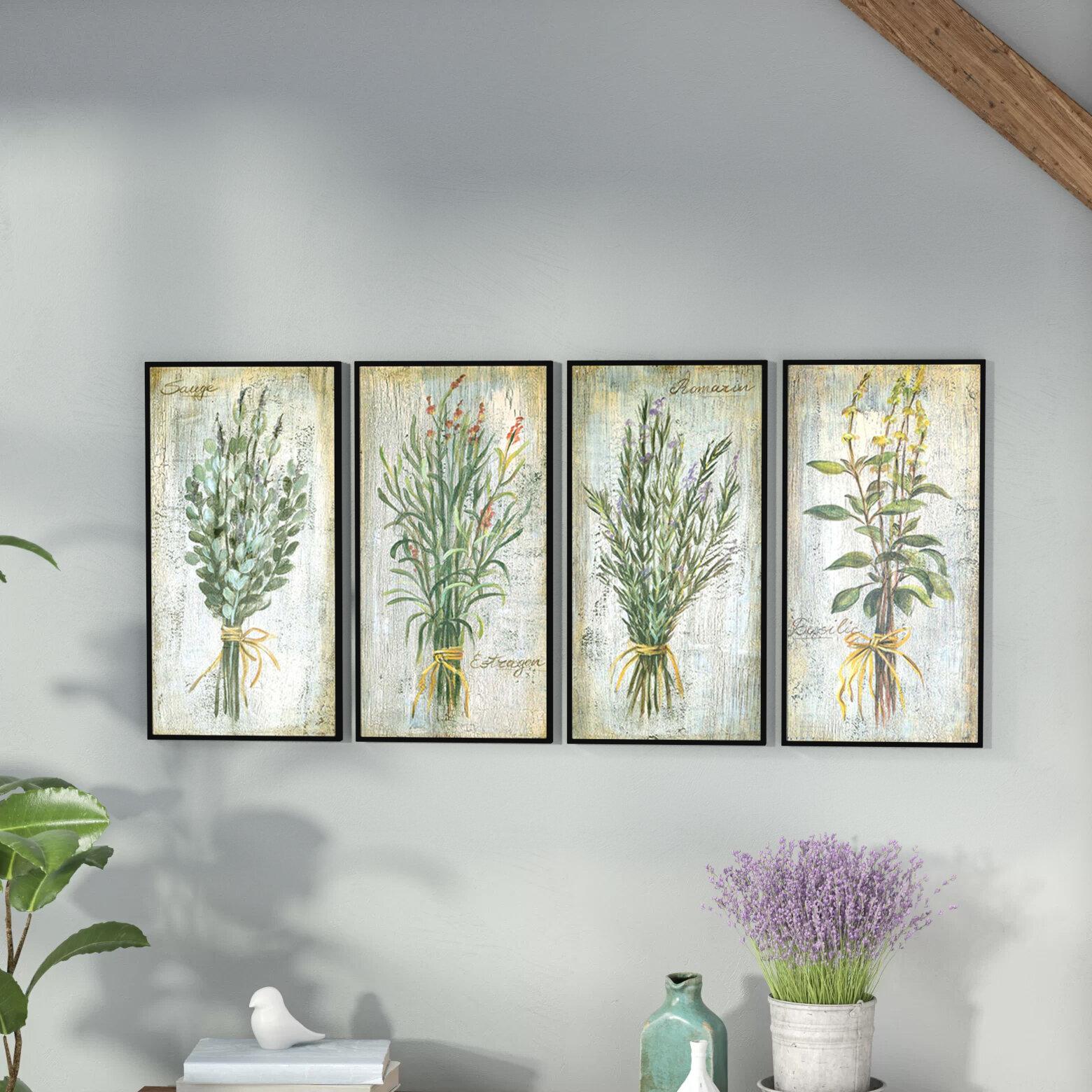 Herbs 4 Piece Framed Graphic Art Print Set