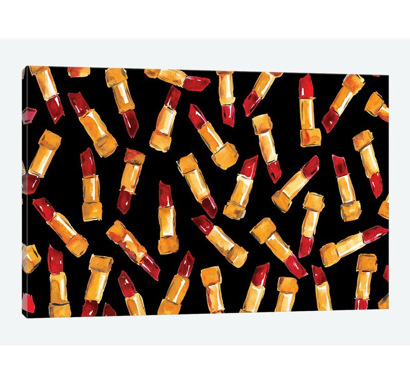 East Urban Home Blood Red Lipstick By Kahri Graphic Art Print On Wrapped Canvas Wayfair