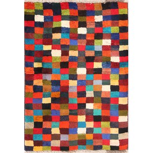 Find for One-of-a-Kind Losh Checked Modern Gabbeh Shiraz Persian Hand-Knotted 2'11 x 4' Wool Green/Red/Black Area Rug By Isabelline