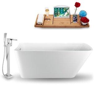 Inexpensive 59 x 31 Freestanding Soaking Bathtub with Tray ByStreamline Bath