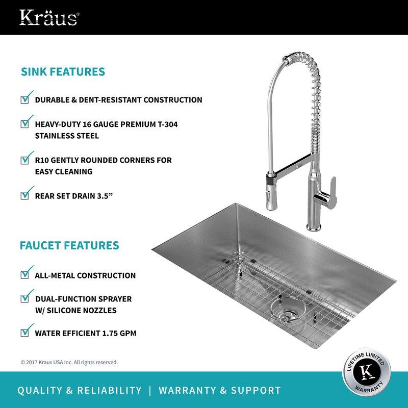 16 Gauge Undermount Kitchen Sink Kraus handmade stainless steel 16 gauge 30 x 18 undermount kitchen handmade stainless steel 16 gauge 30 x 18 undermount kitchen sink with faucet workwithnaturefo