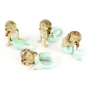 Midwest Design Imports Miniature Garden 4 Piece Mermaid Statue Set