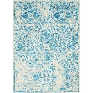 Boggess Ivory/Blue Area Rug by Bungalow Rose