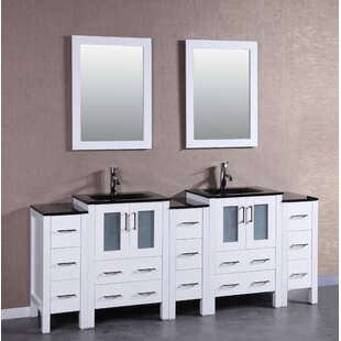Frausto 84 Double Bathroom Vanity Set with Mirror by Bosconi