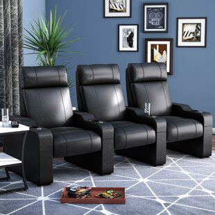 Latitude Run Leather Manual Rocker Recline Home Theater Sofa (Row of 3)
