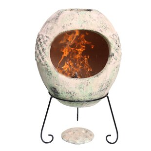 Haeddyn Clay Wood Burning Chiminea By Gardeco