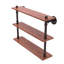 Pipeline Ironwood  22 W Triple Shelf by Allied Brass