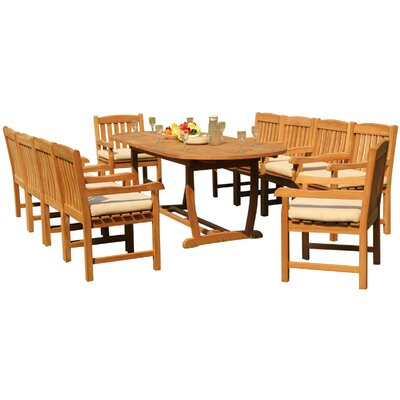 Maskell 11 Piece Teak Dining Set by Rosecliff Heights No Copoun