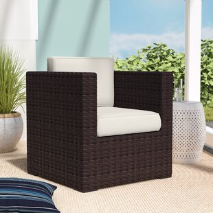 Neo Arm Chair PVC Wicker Brown with OFF-White Cushions