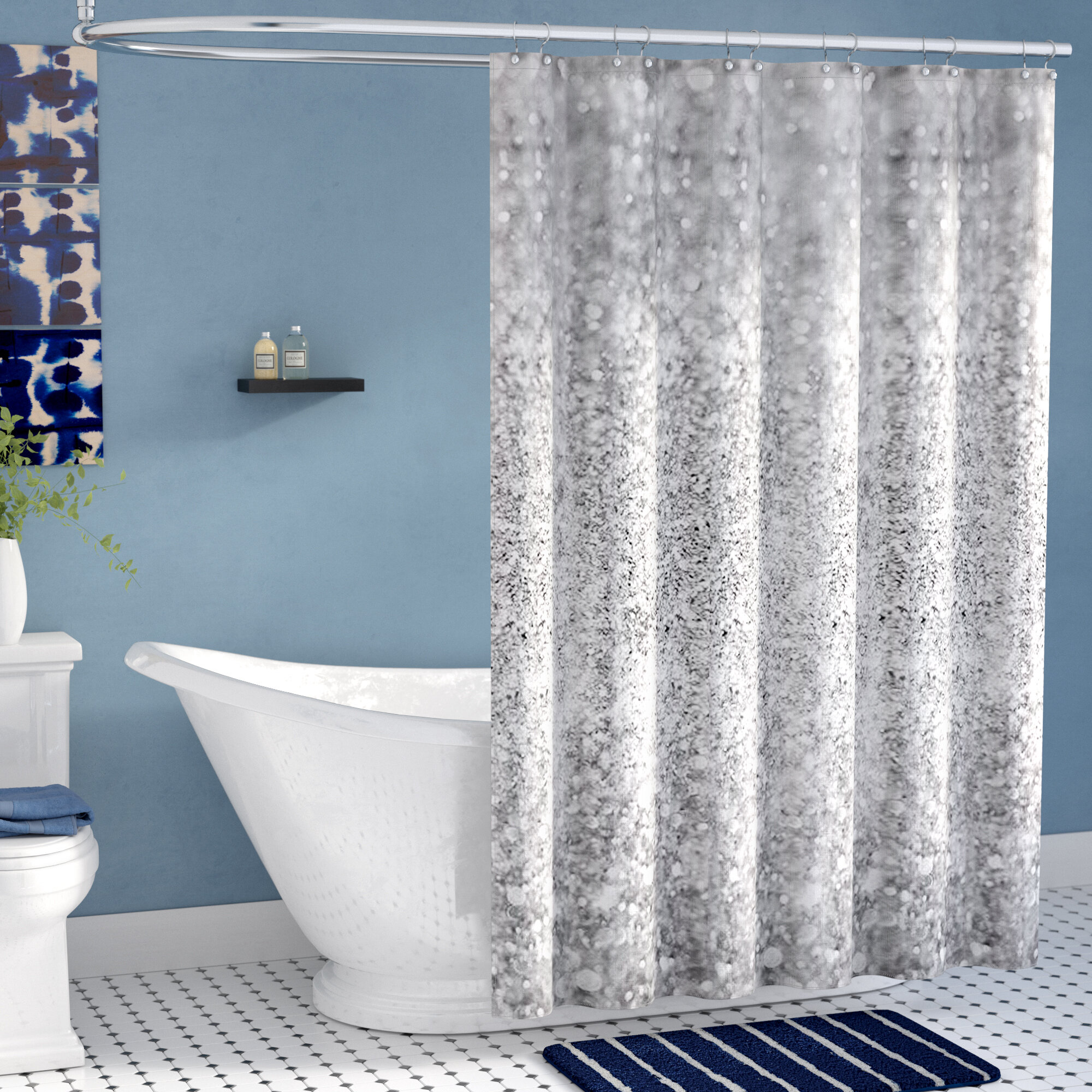 east urban home shiny glamour luxury shower curtain reviews wayfair - Luxury Shower Curtains
