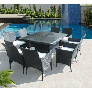 Latitude Run Hendrix 9 Piece Dining Set with Cushions