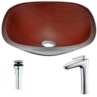 Cansa Glass Circular Vessel Bathroom Sink with Faucet ANZZI