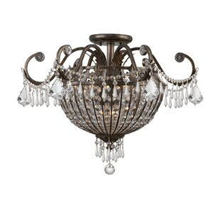 Astoria Grand Suniga Crystal 9-Light Semi Flush Mount