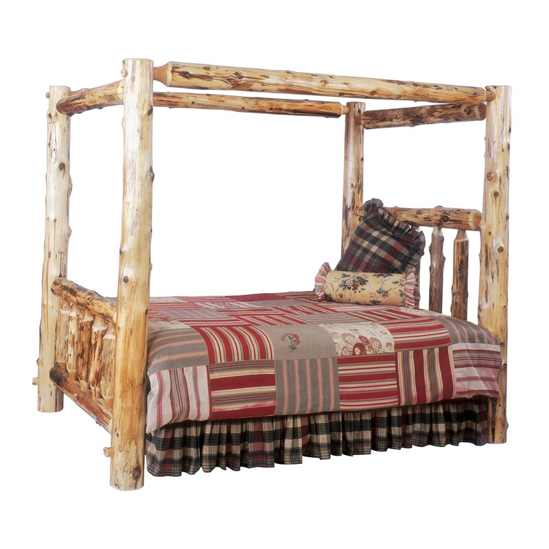 default_name - Fireside Lodge Traditional Cedar Log Canopy Bed & Reviews Wayfair