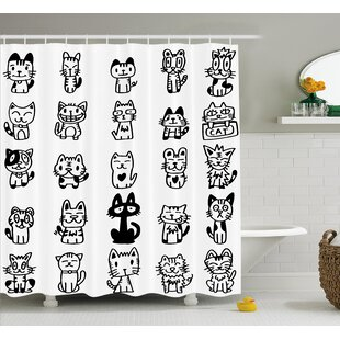 Balzer Cats with Happy Faces Single Shower Curtain